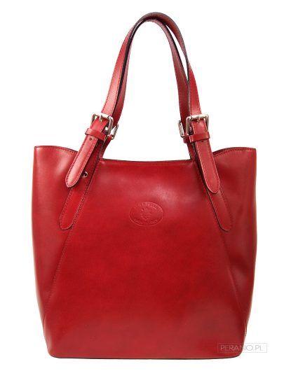 Czerwona torba skórzana. Naturalna skóra. Vera Pelle. Paolo Peruzzi .Genuine Leather. Damskie torby