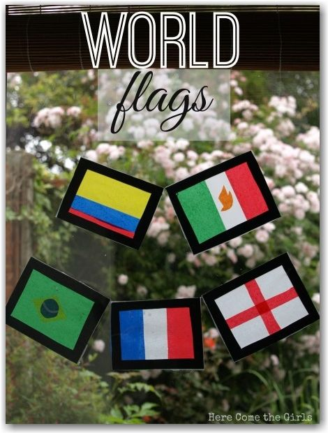 Wold Flags stained glass window - a fun craft project where you also learn about Geography. This would be perfect for the World Cup!