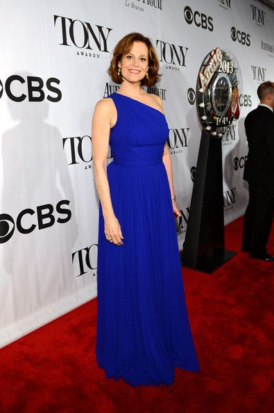 Sigourney Weaver One Shoulder Dress - Sigourney Weaver sported a one-shouldered dress in a rich cobalt blue at the 2013 Tony Awards.