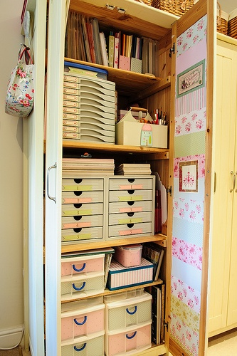 Craft Storage Cupboard Decorated with Patchwork Paper