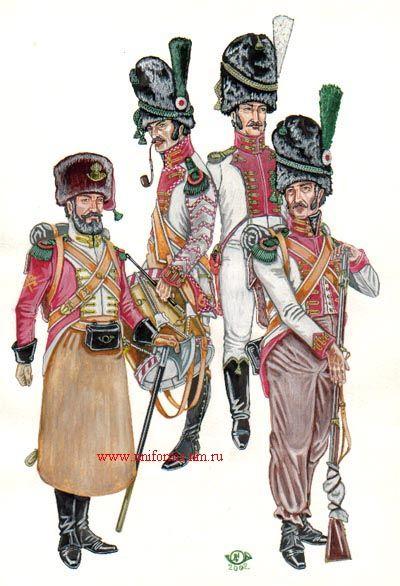 Zappatore, tamburo, ufficiale e vélite del 1 rgt. granatieri della guardia reale