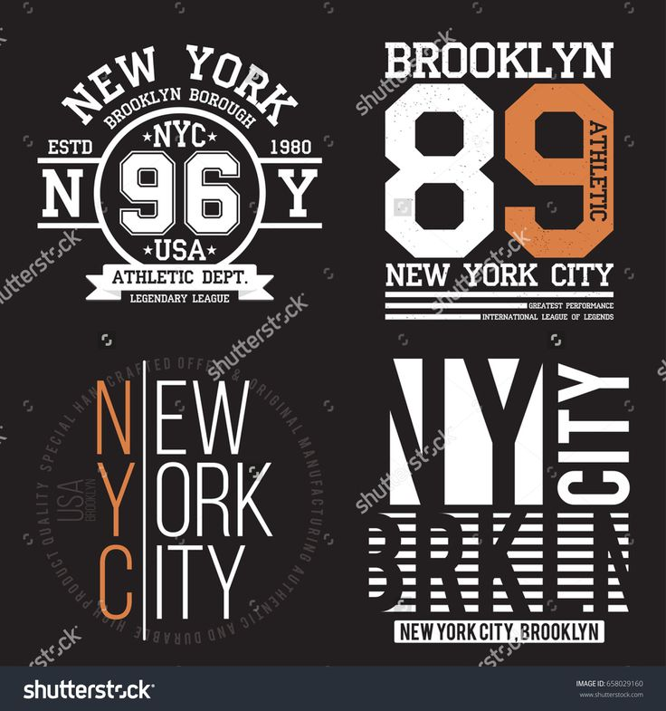 New York, Brooklyn typography for t-shirt print. Sports, athletic t-shirt graphics set. Badge collection. Vector