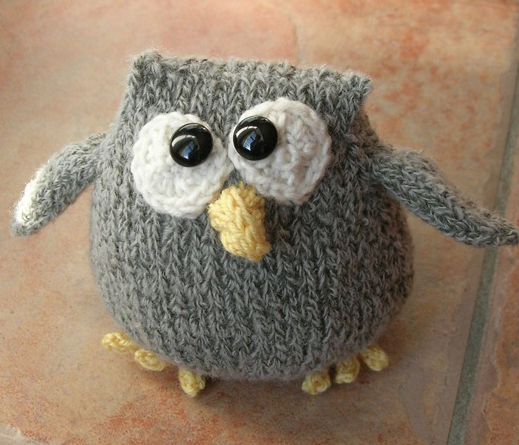 Free Knitting Pattern for Cordell the Owl Toy - Knit-a-Zoo's easy cute owl toy is about 11 cm high,