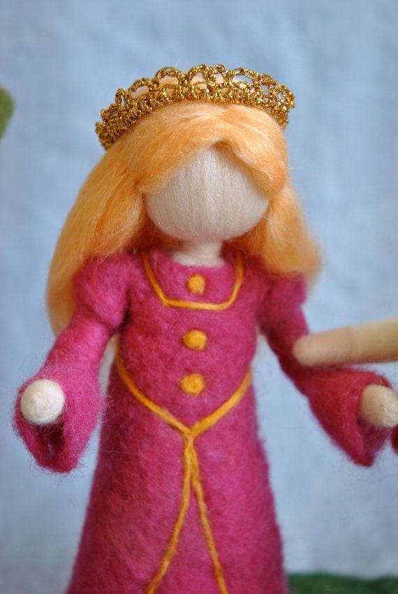 Waldorf inspired needle felted standing doll: Fairy tale Princess via Etsy