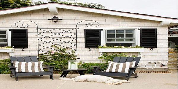 Exterior Home Design with Install Window Shutters