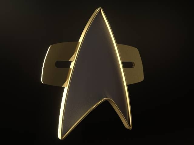 Render of a Star Trek Voyager style communicator badge.