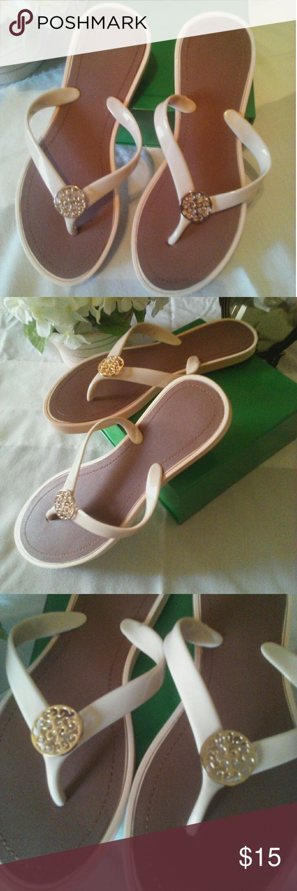 🌼 Beige Flip Flops/Sandals With Embellishments Excellent condition! Beige flip flops with brown inner soles & gold toned medallions. Shoes Sandals