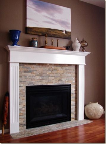 give your old fireplace a facelift diy tile and mantel - How To Build A Fireplace Surround