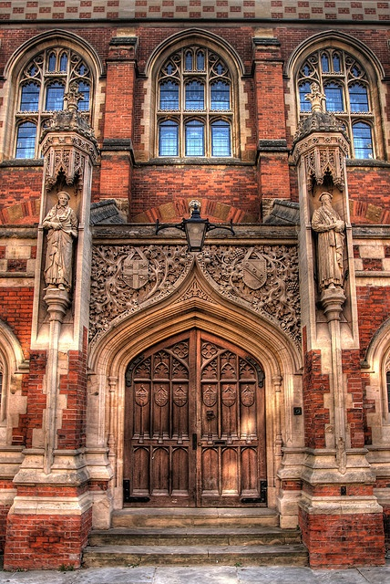 The front door to the Divinty School, opposite St John's College, Cambridge, England. And windows too!