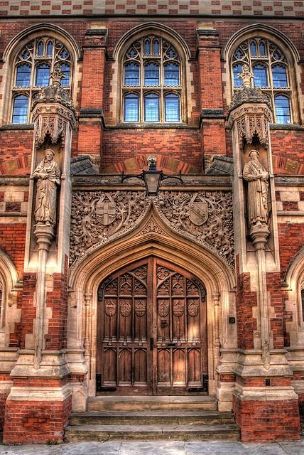 The front door to the Divinty School, opposite St John's College, Cambridge, England