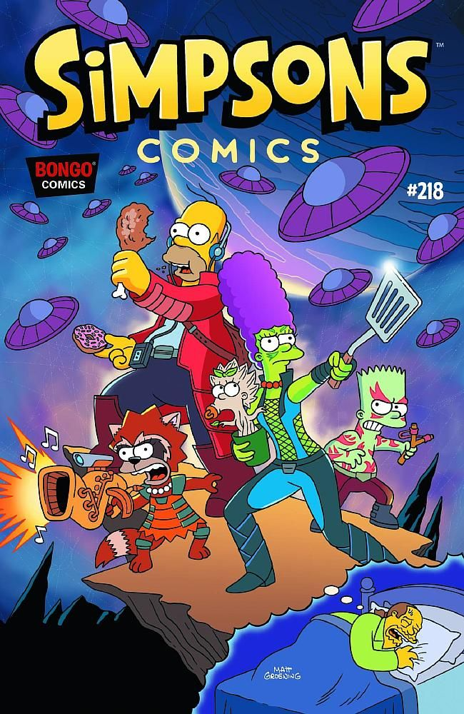 Endearing Comic Book Guy is sleeping, dreaming about the superheroes which the Simpson family disguised as them, beating the spaceships afterwards.Note: This comic issue's front cover is adapted from the 2014 superhero science fiction adventure film Guardians of the Galaxy.