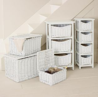 Set Of 3 White Wicker Trunks from Next
