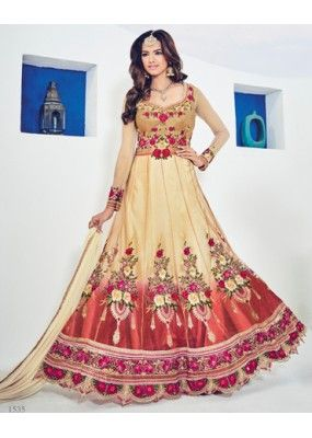 Festival Wear Cream Net Embroidery Anarkali Suit - 1535