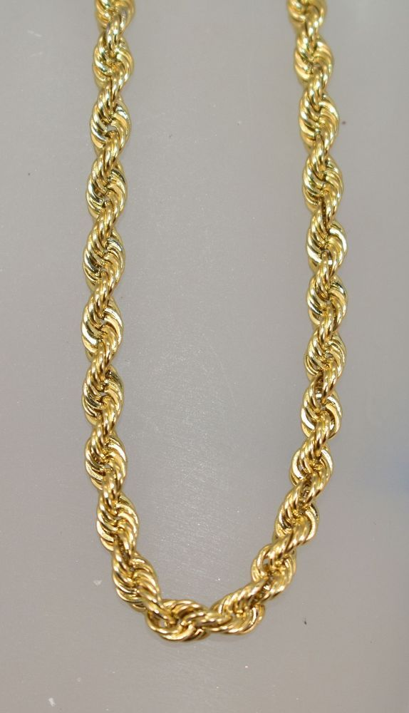 10 K Yellow Gold Peruvian Solid 3 Mm Rope Chain 22 1 4 Inches 23 5 Grams Chain Gold Chains For Men Solid Gold Chains Chains For Men