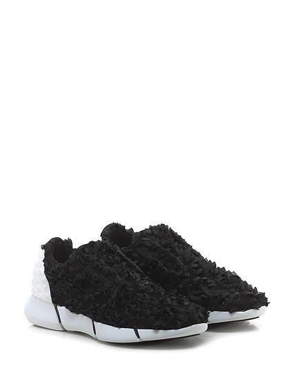 ELENA IACHI - Sneakers - Donna - Sneaker in tessuto tecnico e raso con inserto in gomma borchiata su retro e suola in gomma. Tacco 35, platform 20 con battuta 15. - NERO - € 312.00