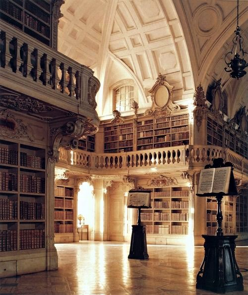 Beautiful Libraries and Bookshops...The Mafra National Palace library in Mafra, Portugal, photo via Book Mania.