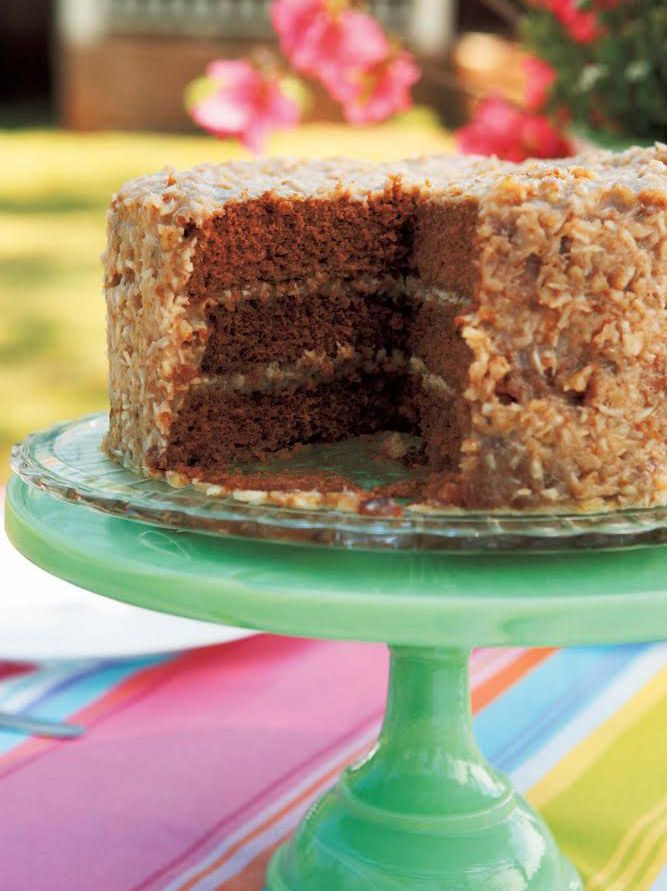 """German Chocolate Cake — Trisha Yearwood. Serves 12 Every February, when Garth's birthday rolls around, I make this beautiful and delicious cake for him. Last fall, he made some sad statement like, """"Only three more months until you can mak..."""