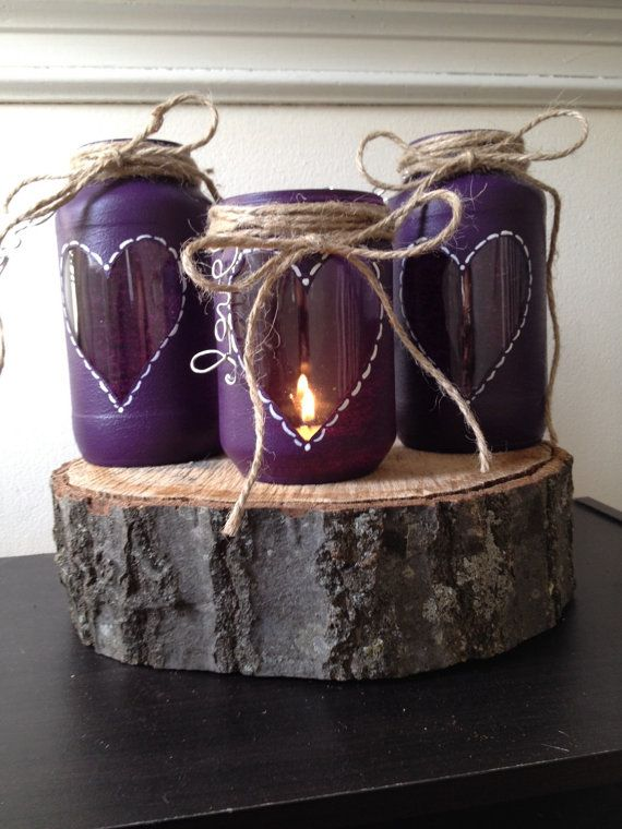 Hey, I found this really awesome Etsy listing at https://www.etsy.com/listing/217647177/purple-wedding-centerpiece-rustic