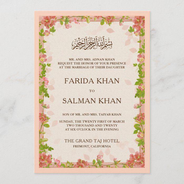 Rustic Apricot Floral Frame Islamic Muslim Wedding Invitation Zazzle Com In 2021 Muslim Wedding Invitations Wedding Invitations Wedding Invitation Size