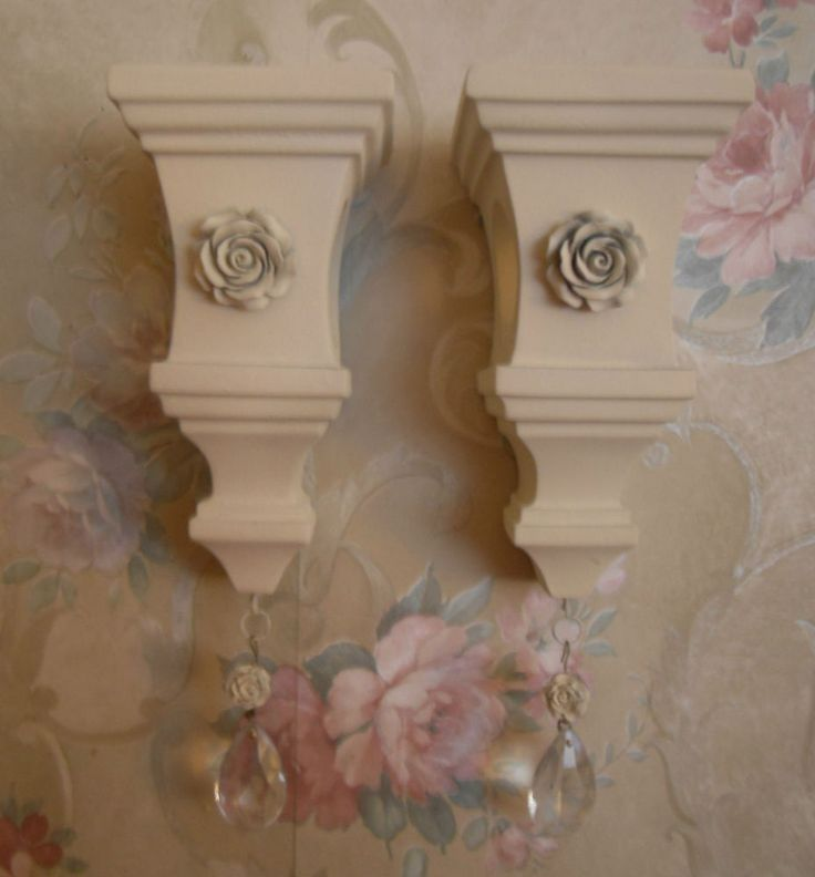 Pair of small shabby curtain rod sconce holders cottage roses glass prisms shabby chic - Shabby chic curtain poles ...