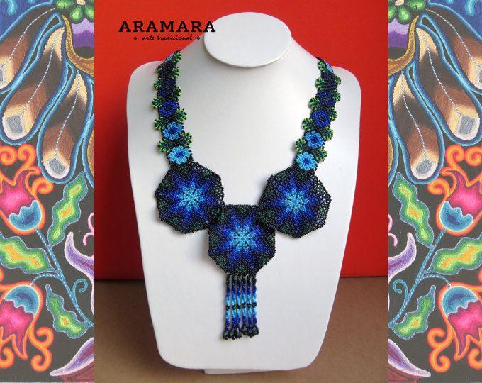 Abalorios de joyería mexicana - collar de Huichol - Huichol mexicana Huichol cuentas Blue Star collar CRG-0008 Huichol arte - collar mexicano-