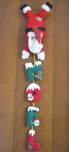 Colgante pared: papá Noel con letras