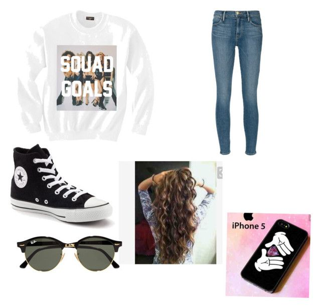 """""""Casual teen outfit"""" by sorayaalvarez on Polyvore featuring Frame Denim, Converse and Ray-Ban"""