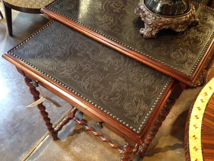 Embossed Leather Tables #ParkerFurniture