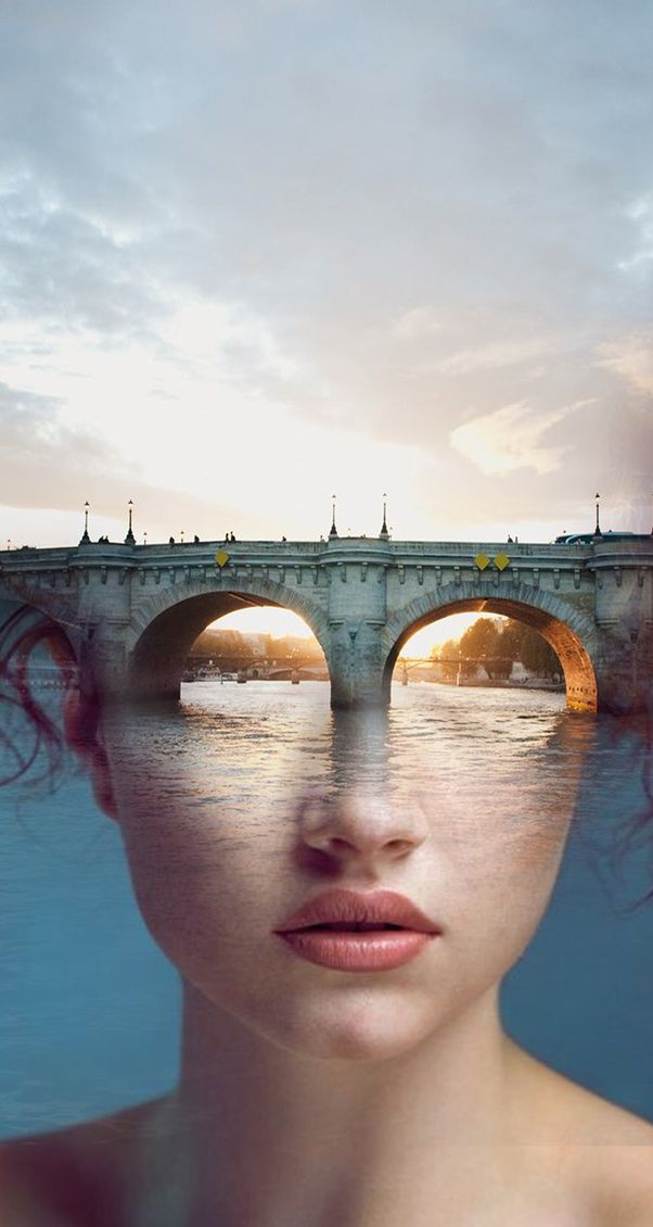 This is another great piece of art this I feel reminds me of something I would do if I was painting. I like how the artist uses the bridge to from the top half of the women's head. I also noticed the sunlight and the clouds makes up the hair, thought that was very clever.