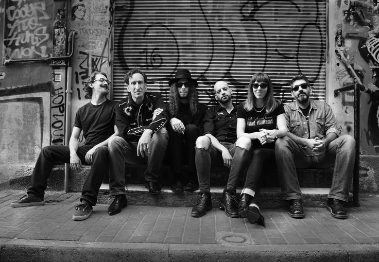 """Dustbowl is an Americana, Alternative Country Rock band from Athens, Greece. They call their music Mother Earth Rock! Dustbowl formed in 2006 and their last album is called """"The Great Fandango"""". Photo by Nicholas Carellos. Panos Birbas, Nick Fysakis, John Hardy Houstoulakis, Mike Dremetsikas, Lydia Grammatikou, Nick Panayiotou"""