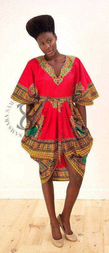 DASHIKI Flora Tribal gegratineerde jurk