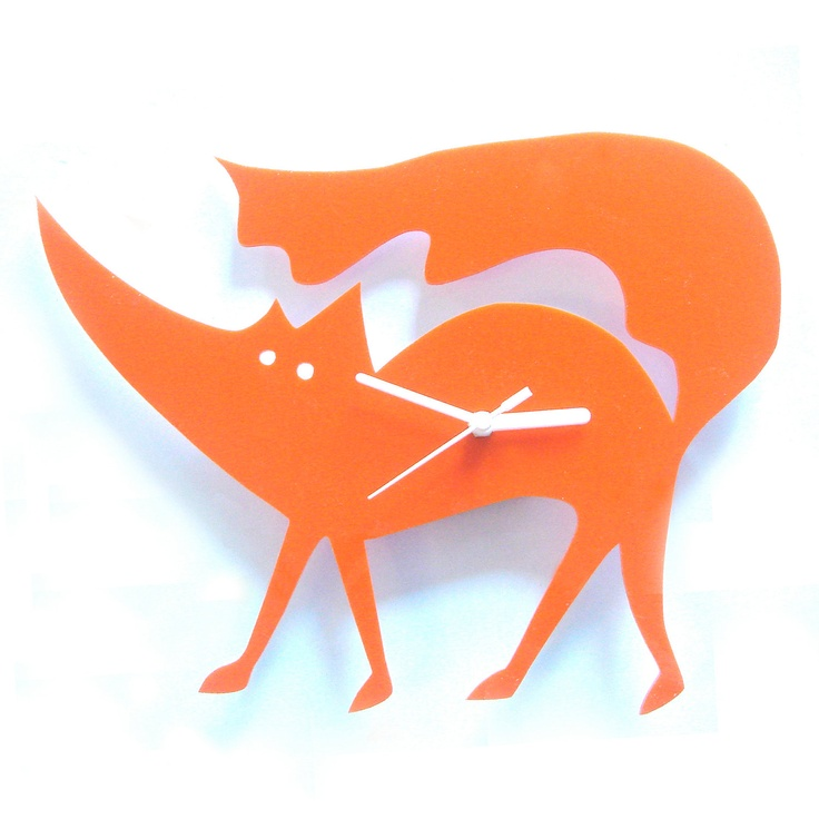 Matthew the Fox orange acrylic clock.