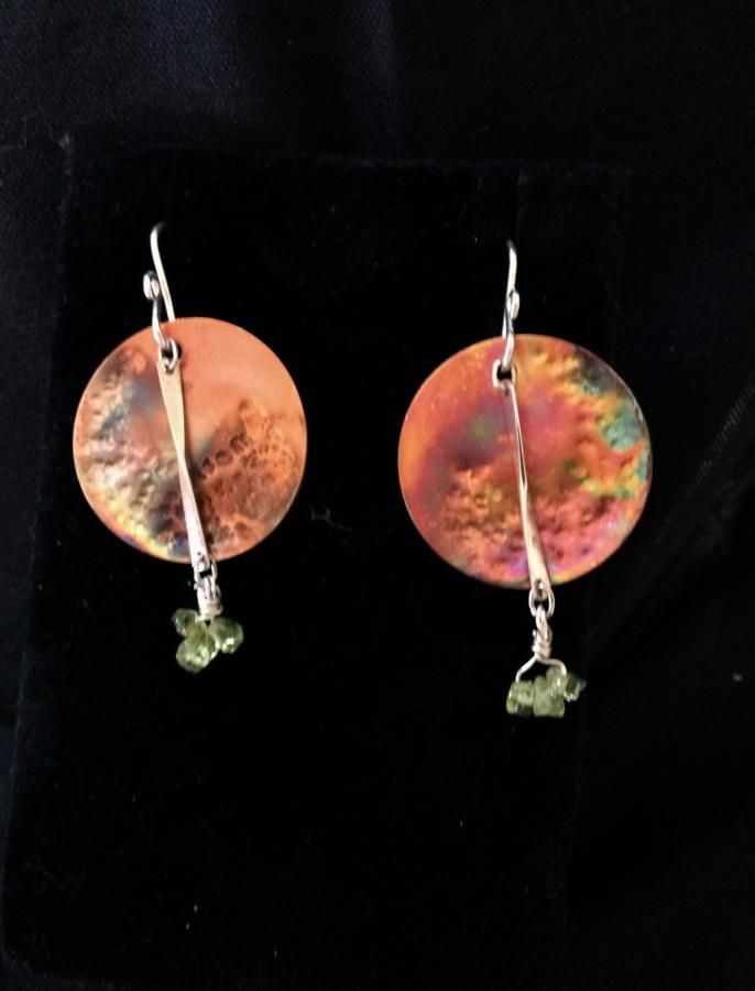 Heat painted copper earring with sterling silver and peridot chips by cindymarie