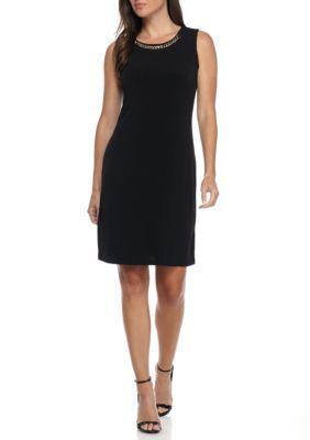 Calvin Klein Women's Sleeveless Dress With Chain Detail - Black - Xl