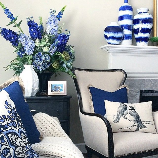 Hello indigo! Designer style from @memehillstudio with #HomeGoodsHappy throw pillows and drip glazed vases