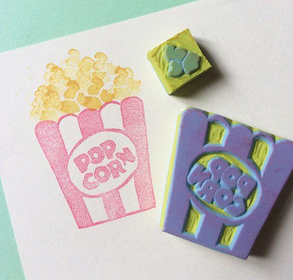 POPCORN Set-Hand Carved Rubber Stamp