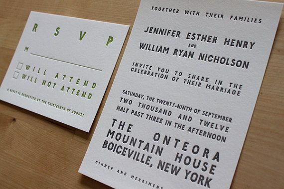 Block Letterpress Wedding Invitation  Marquee by moontreepress, $5.00