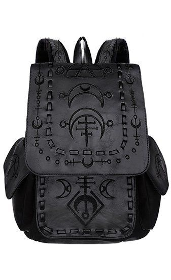 Restyle Runic Moon Black Backpack This awesome black backpack from Restyle has faux leather detailing, with gorgeous black embroidered moon symbols. Fully lined and fastening with faux leather drawstring...