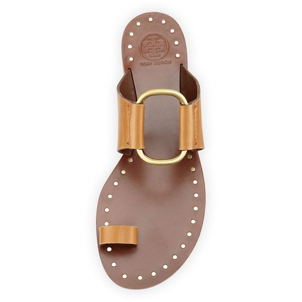Tory Burch Brannan Studded Toe-Ring Sandal ($235) ❤ liked on Polyvore featuring shoes, sandals, toe-ring sandals, strappy toe loop sandals, slip on sandals, slip on flats and studded sandals