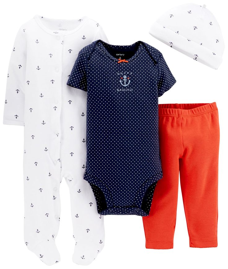 Carter's Baby Girls' 4 Piece Layette Set (Baby) - Anchor Print - 6 Months. Layette Sets.