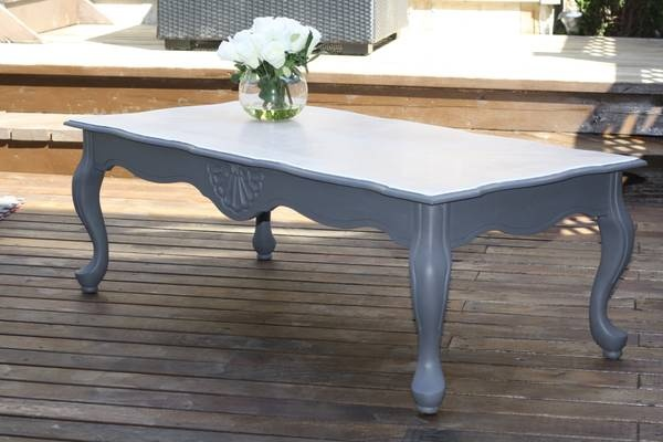 Sold French Provincial Coffee Table Refinished In Grey Chalk Paint With A Stained White Top