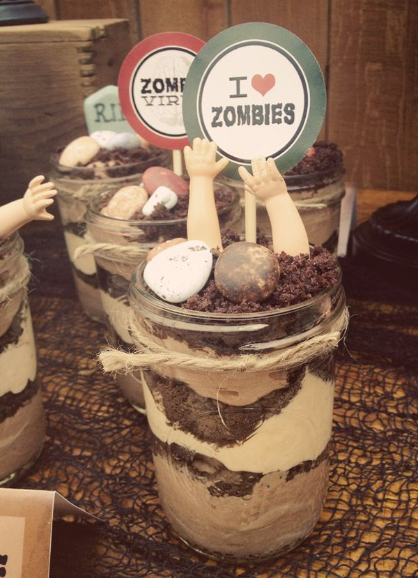 Vintage Zombie Party Dirt Cup (Mousse) by Three Little Monkeys Studio. I want to have a zombie party!
