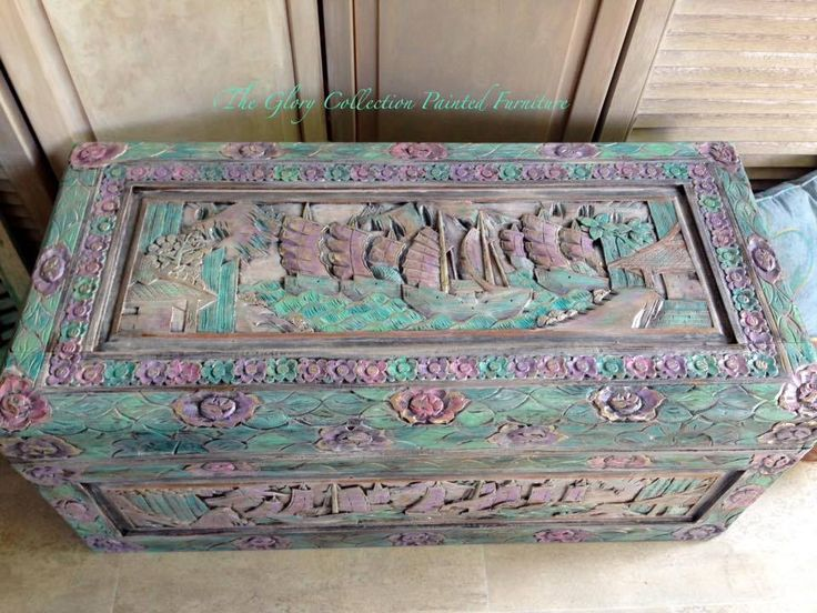 painted camphor chest. The Glory Collection Painted Furniture.