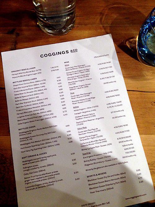 Cafe Coho Drinks Menu
