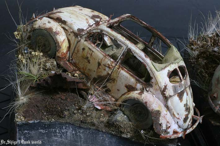 Rusted out VW Beatle