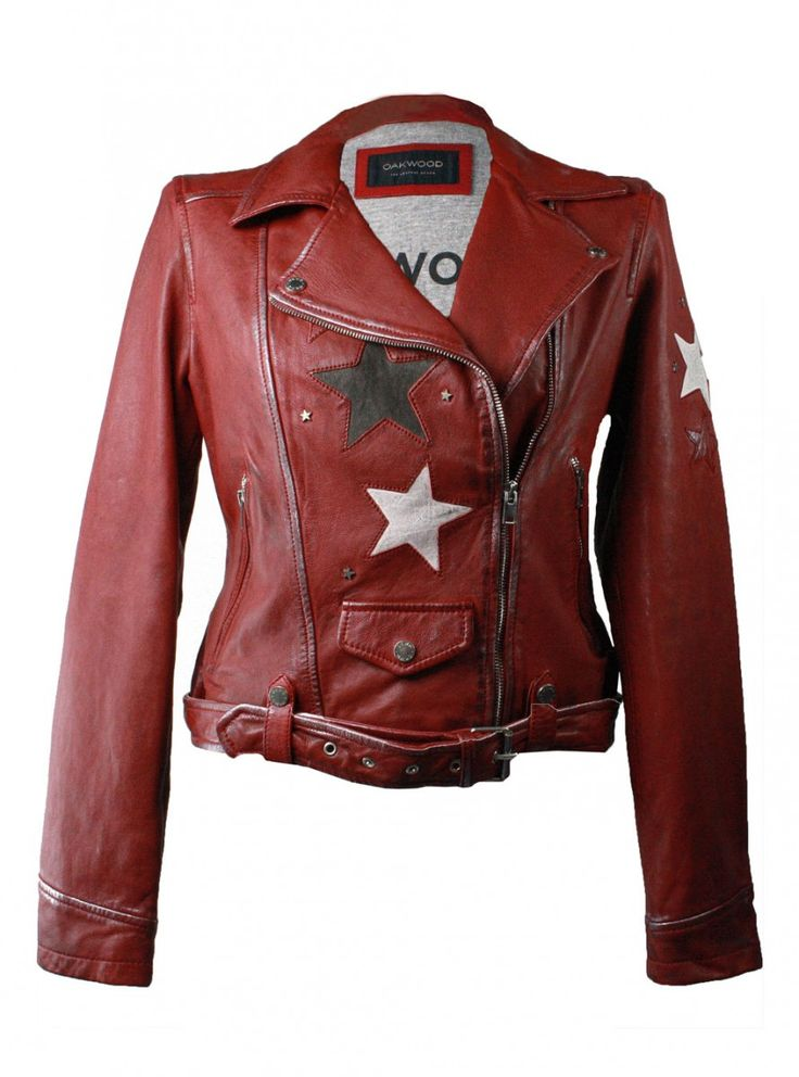 OAKWOOD | Lederjacke Courtney - rot | fire A sky full of stars with this  Leather Jacket #stars #fashion #fallfashion #falloutfit