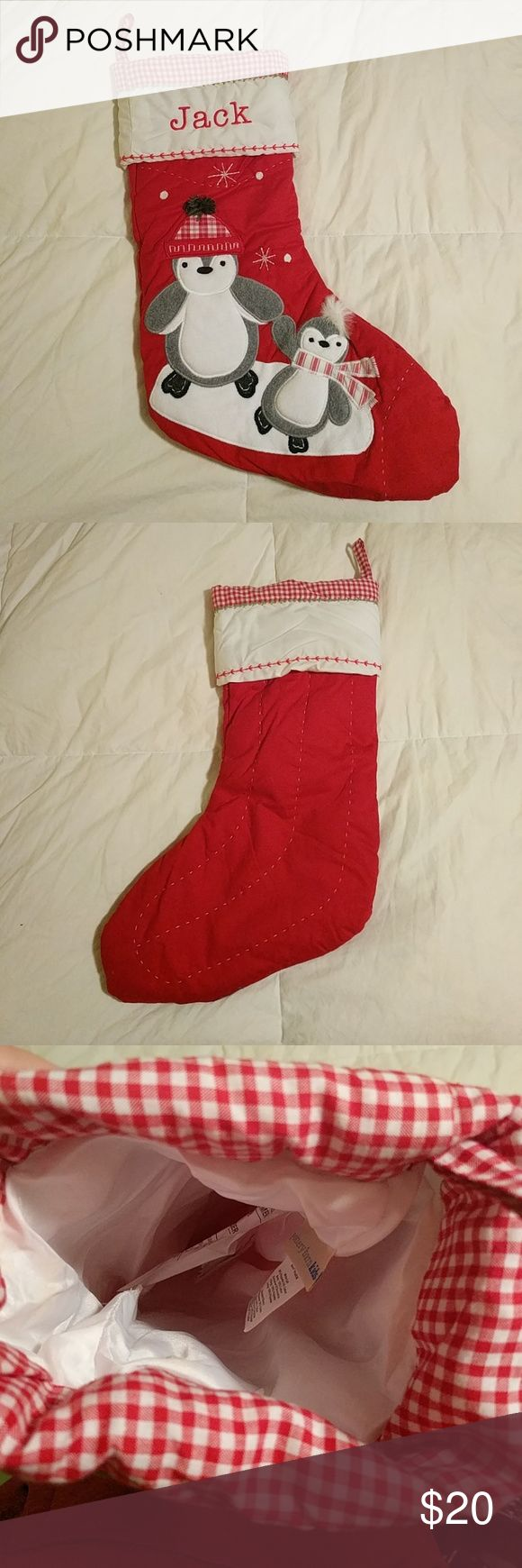 """Red Pottery Barn Christmas Quilted Stocking Like NEW! Personalized Pottery Barn Kids stocking. Used for one Christmas; like new condition. Adorable penguins accompany the name """"Jack"""" on this beautiful holiday stocking! From hanging loop straight down, the stocking measures 16 inches long. Pottery Barn Other"""