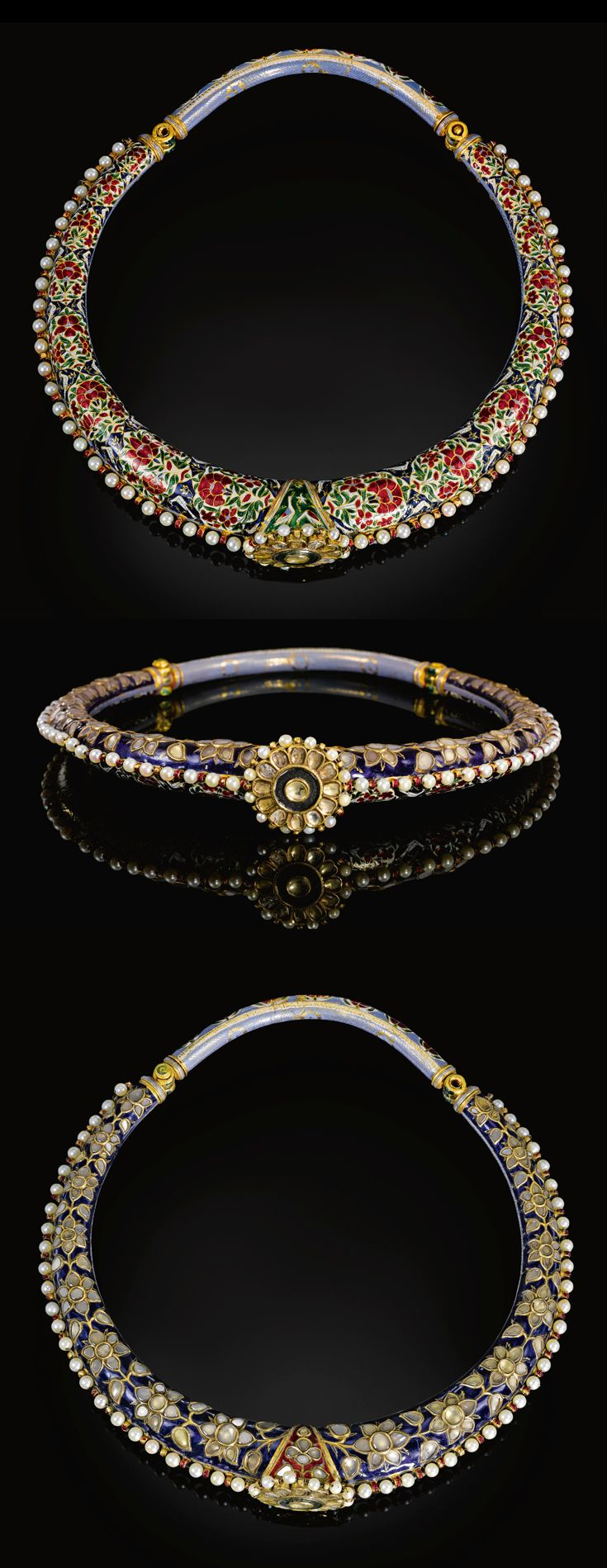 India ~ Jaipur | Enamelled and gem set torque (Hasli) | 19th century