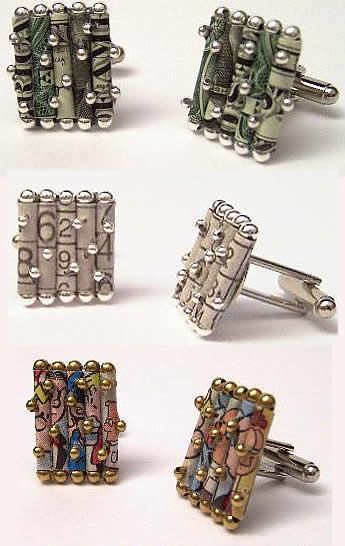 Recycled newspaper cufflinks, created from dollar bills, the comics pages or sudoku pages. Created by artist, Holly Anne Mitchell.