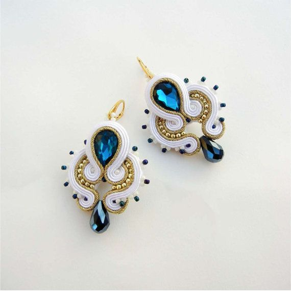 NEW Bridal Jewelry Soutache Earrings Blue White by AdityaDesign